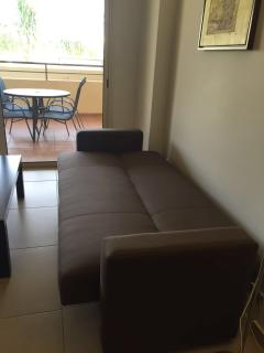 Sofa bed pulled out