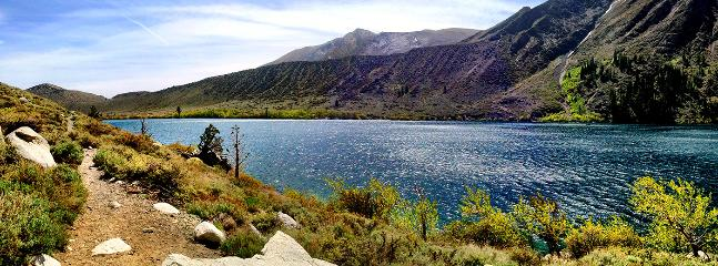 Convict Lake- 10 min south of Mammoth on Hwy 395.  A favorite for fishing, boating, and hiking.
