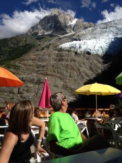 en haut du télésiège du glacier des Bossons