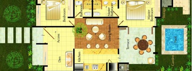 Floorplan ground floor. Tree replaces splash pool