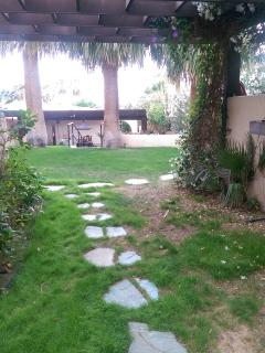 This is the walkway to the gardens, hot spring baths, and shared kitchen.