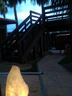 These are the stairs to the observation deck where you can view the sunset over the mountain & stars