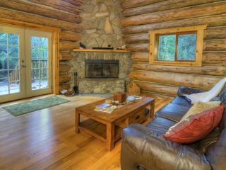 Magnificent High End Custom Log Home on Secluded Riverfront Property – Hot Tub!, Gold Bar