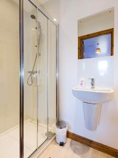 Ensuite Shower, washbasin and toilet