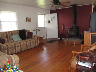 both ends of couch and loveseat recline. wood burning fireplace.
