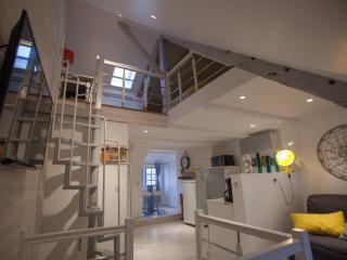 vue d ensemble l accès mezzanine avec escalier puis cuisine au 2ème plan et salon a droite