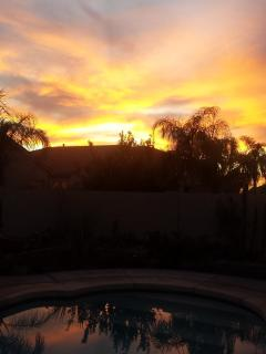 Was a beautiful sunset over the pool