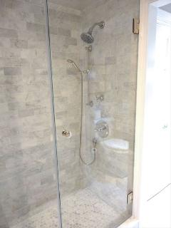 Lovely step in shower in Master Bath