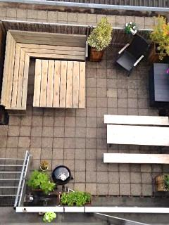Your private outside terrace (30 m2). Facing South (lots of sun)!