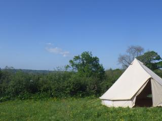 bell tent with view behind