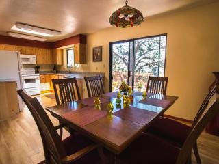 View of the kitchen from the dining table.