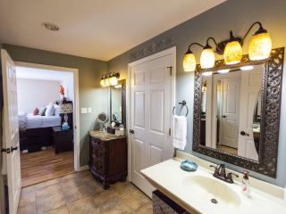 Shared bathroom has private shower & toilet. Stocked with towels, robes & every wonderful amenity
