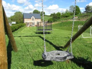 Swing, trampoline and football goal to entertain the Children