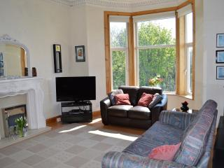 Spacious living room with stunning sea views
