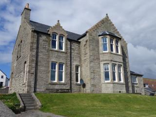 The rear of South Ness House overlooks Bressay Sound (the entrance to Lerwick harbour)