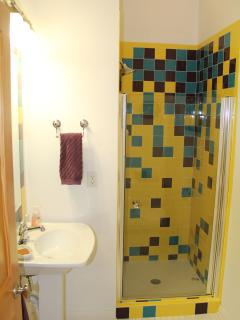 The second bathroom upstairs includes a shower, toilet and sink