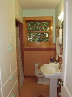 The original 1950 bathroom decor, updated with modern fixtures and plumbing