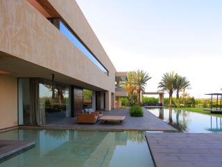 white stone luxury modern villa in marrakech, Marrakech