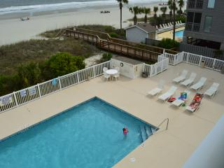 View of the pool from the balcony.