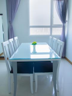 Dining table with view of the river