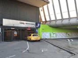 entrance to public parking garage around the corner