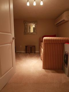 Safety shelter sleeping area w/ A/C, trundle bed (2 singles) TV & DVD. Very quiet. No windows