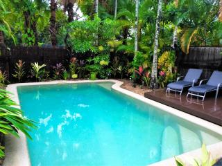 Large 6 metre private pool and deck chairs.