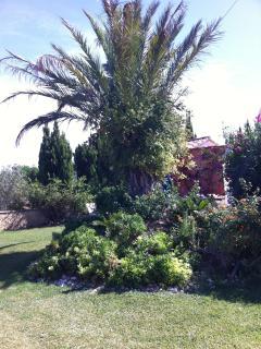jardin paronal con el bungalow