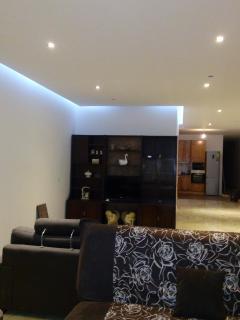 living room lit up soffit