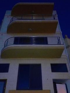 large, stainless steel front balcony