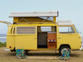 Old School surf camper van