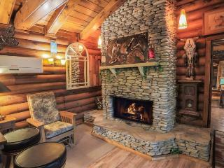 Wood burning stone fireplace