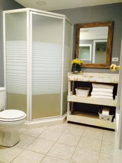 Bathroom with power area.
