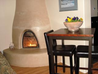 Kiva fireplace and eating area