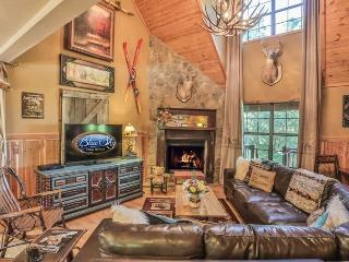 Large open living room with gas fireplace