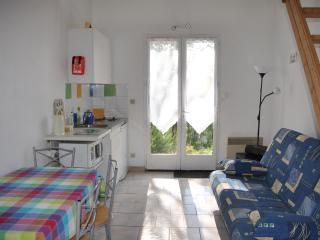 Huppe gite, french windows open onto west facing terrace overlooking our field and woodland.