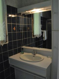 Huppe vanitory unit with washbasin and large, well lit mirror.