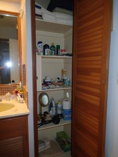 Second floor bathroom closet has many items which you may have forgotten at home.