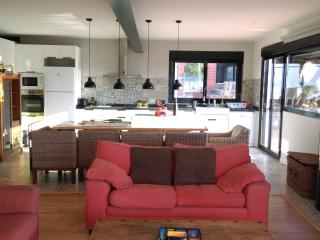 Living room and kitchen in the background