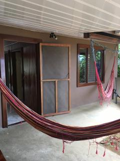 hammocks and lounge and back of house