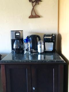 Coffee Cart with French Press, Keurig, Coffee Machine, Coffee Grinder and Tea percolator