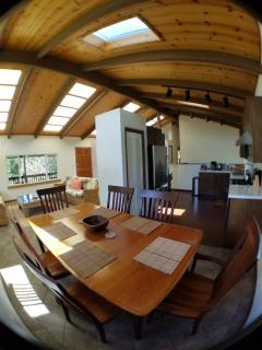 Fisheye view of kitchen, dining room, living room