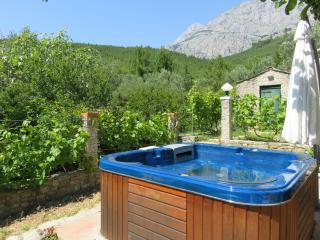 The outdoor whirlpool with a view of the mountain Biokovo