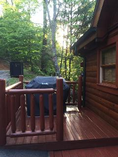 Our gas grill is hooked to our propane tank so you can enjoy cooking out in the beautiful mountains.