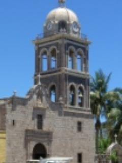 old mission tower in town