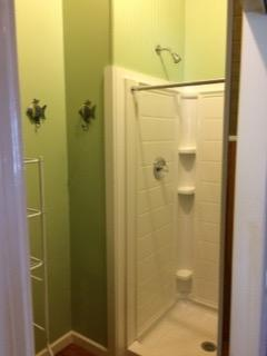 Bathroom with shower on lower floor