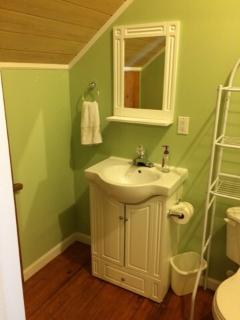 Bathroom on lower floor with shower