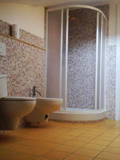 Bagno dotato di lavandino, doccia, wc, bidè, lavatrice, phon ecc...