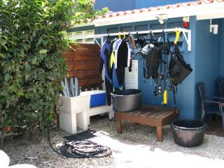Our gear rinse sink and outdoor drying rack.  Indoor drying area in the utility room.