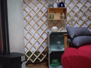 Up-cycled storage and facilities to make tea, coffee and snacks.